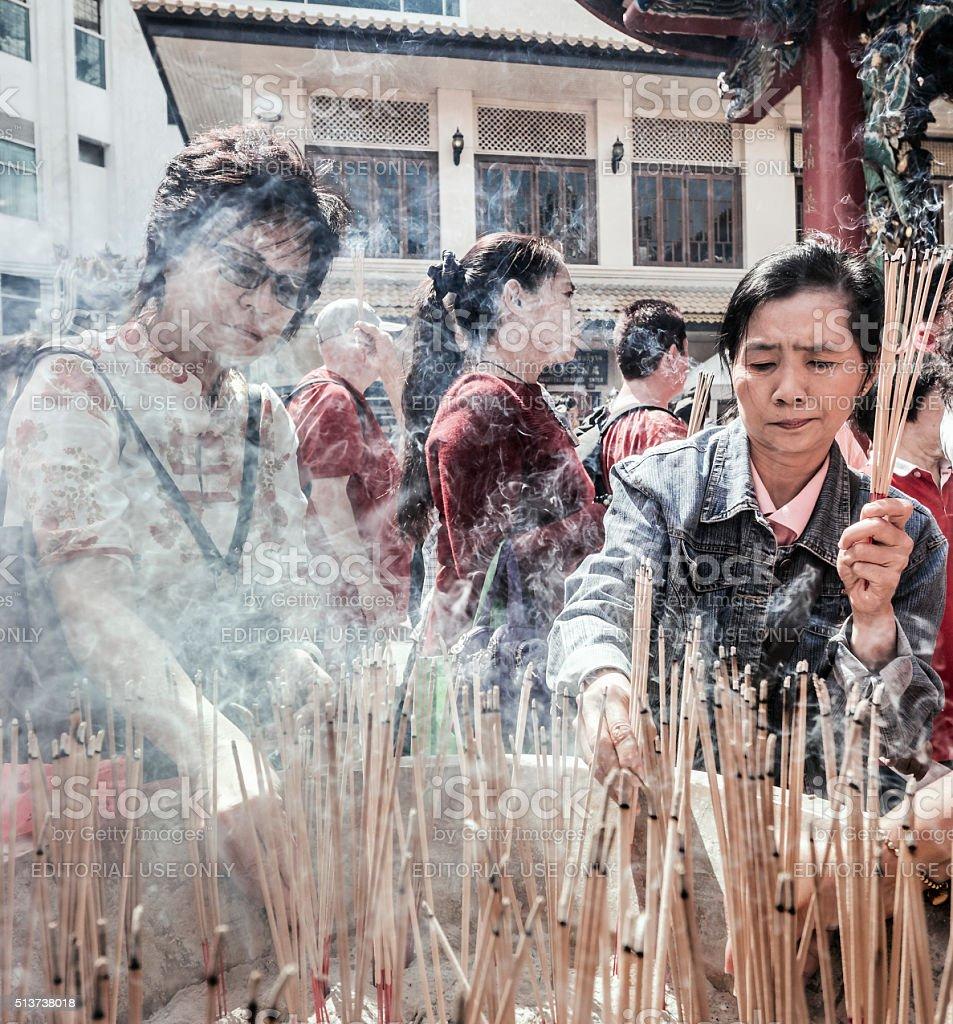 Chinese New Year Guan Yin Shrine Chinatown Bangkok Thailand stock photo