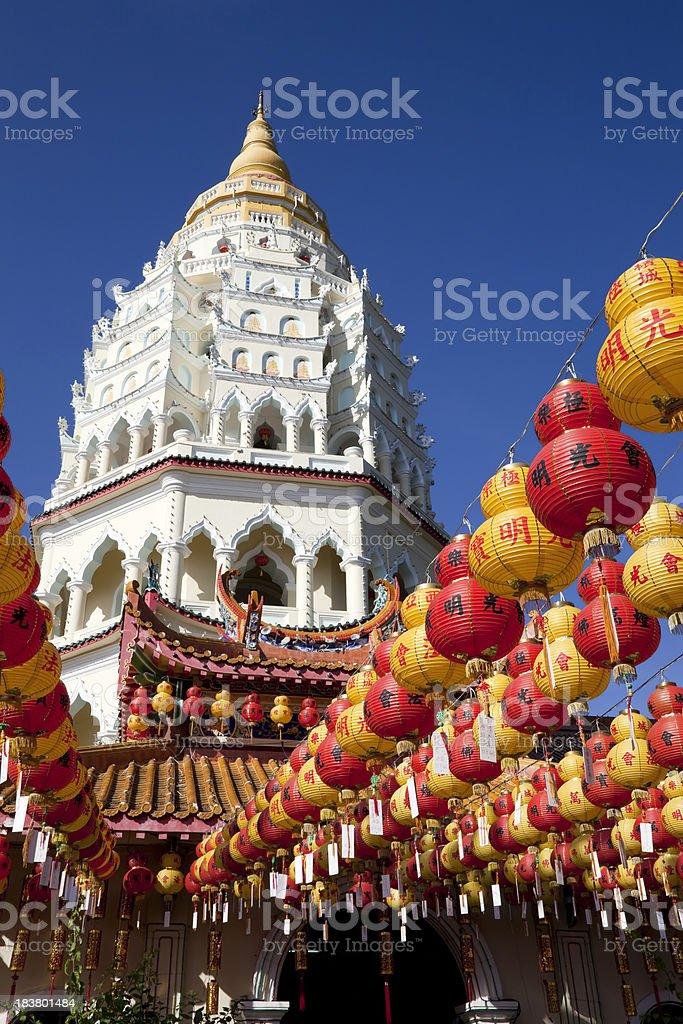 Chinese new year lanterns at Kek Lok Si temple stock photo