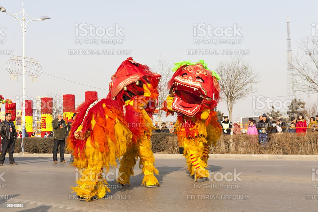 Chinese new year lion dancing stock photo