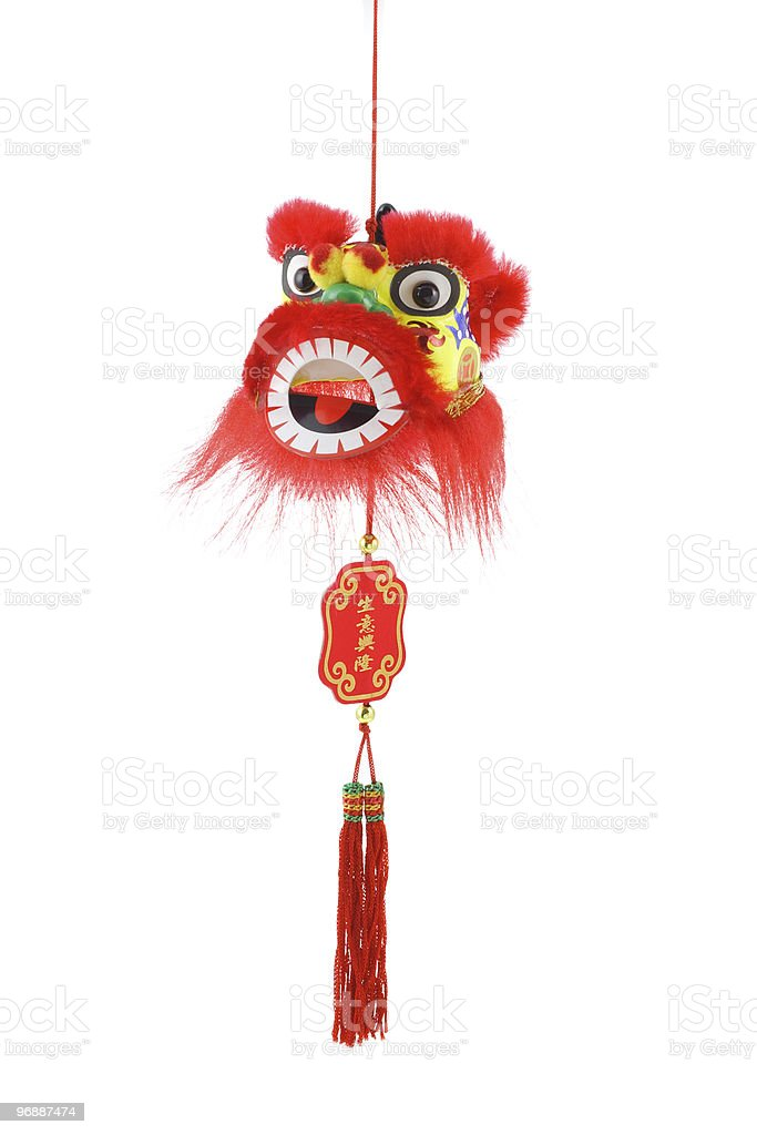 Chinese new year lion head ornament stock photo
