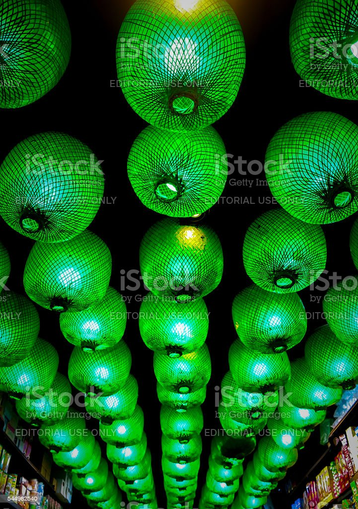 Chinese New Year Party Lantern Rows Green Lights stock photo