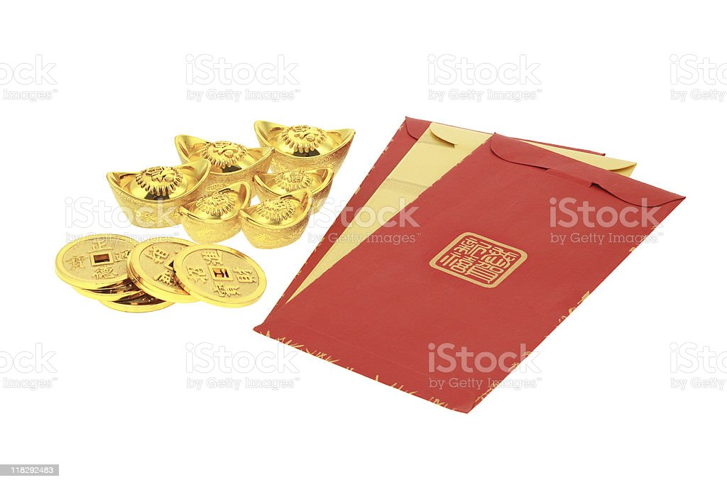 Chinese new year red packets and gold ingots royalty-free stock photo