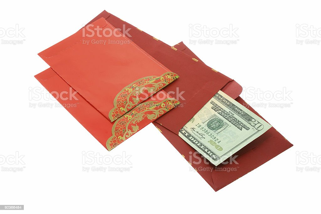 Chinese New Year red packets and US dollars royalty-free stock photo