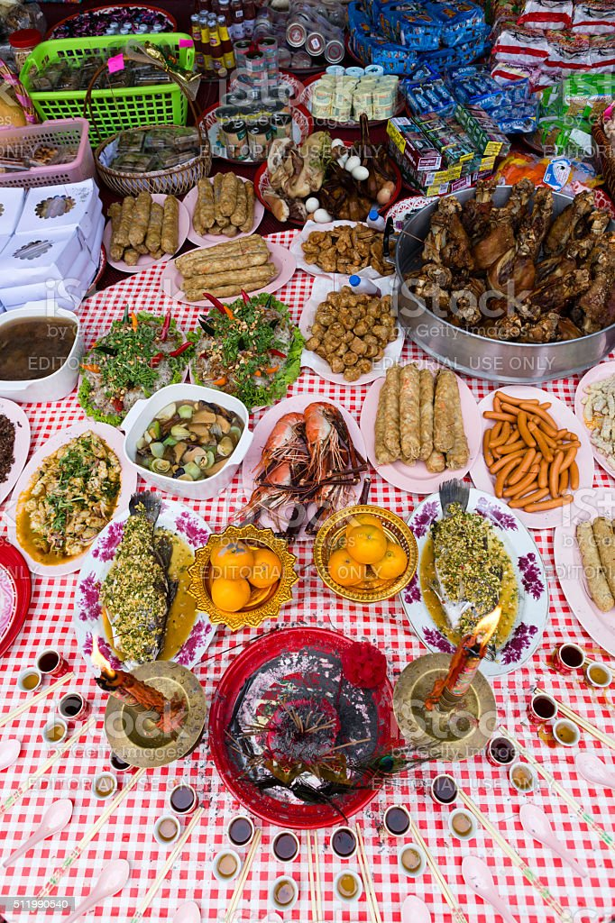 Chinese New Year Religious Offerings stock photo