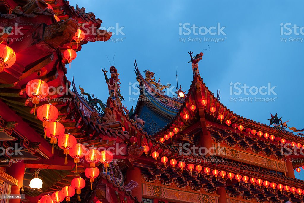 chinese new year temple docrations stock photo