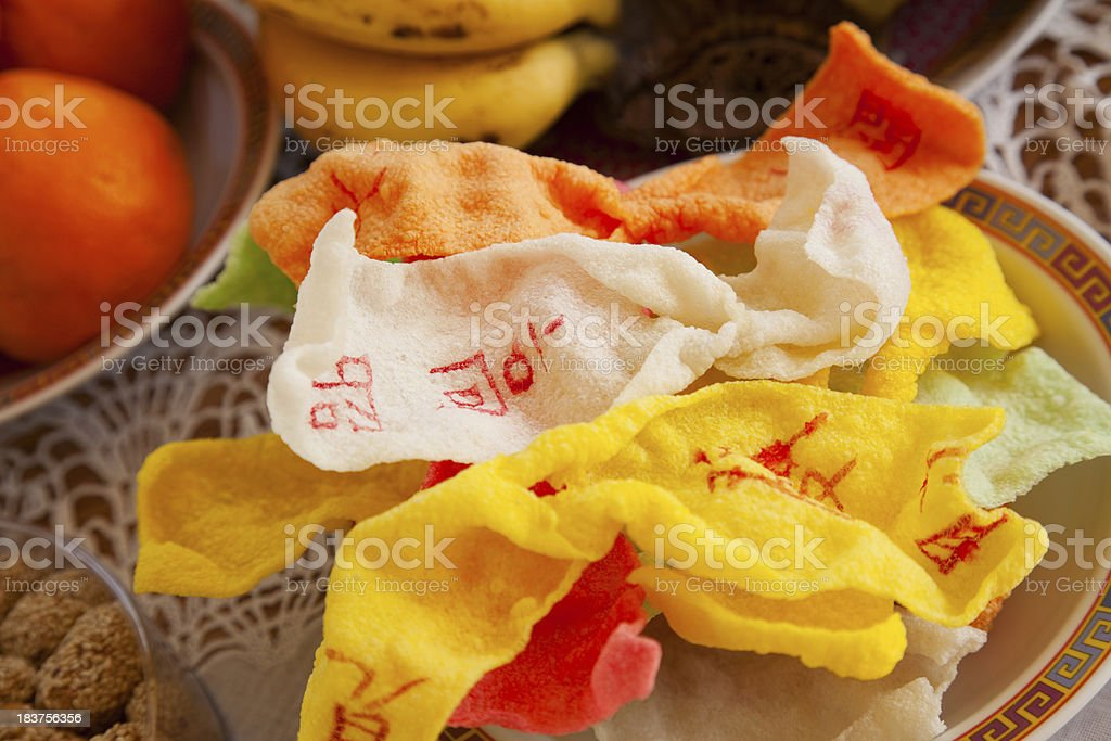 Chinese New Year's Celebration: Fried Rice Crackers royalty-free stock photo