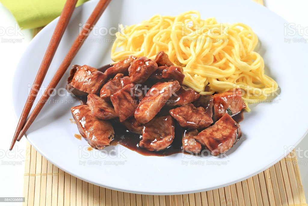 chinese noodles with meat stock photo