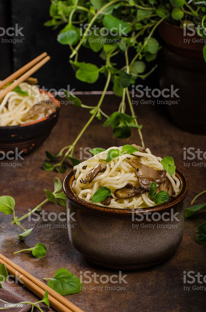 Chinese noodles with mushrooms stock photo