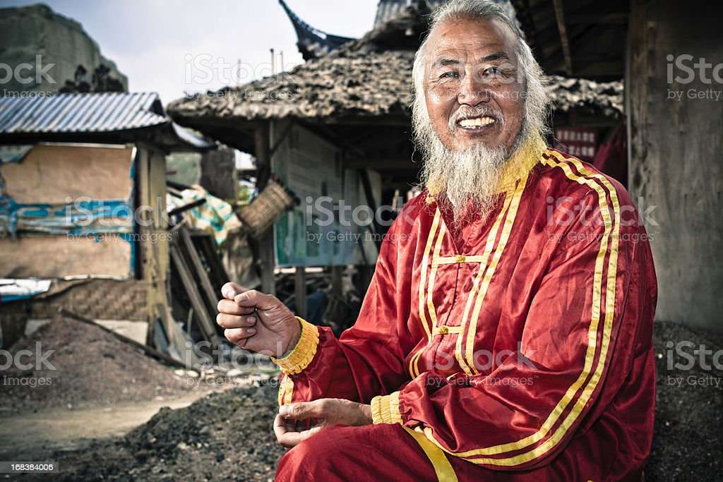 chinese old aerialist royalty-free stock photo