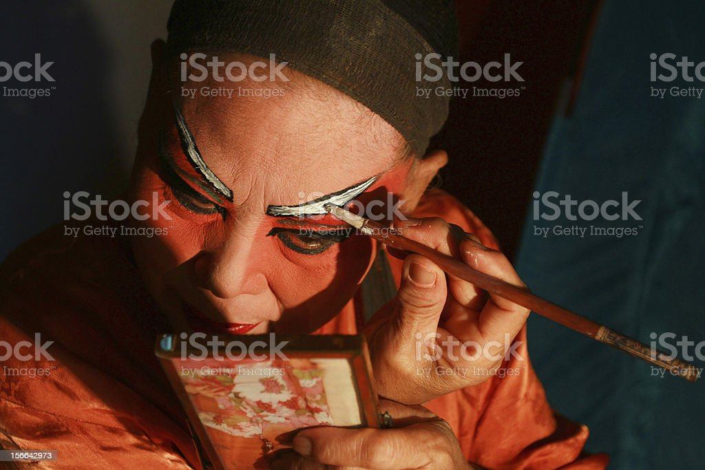 Chinese Opera actor in make up. stock photo