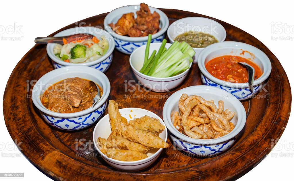 Chinese or Thai food on a rotating tablet stock photo