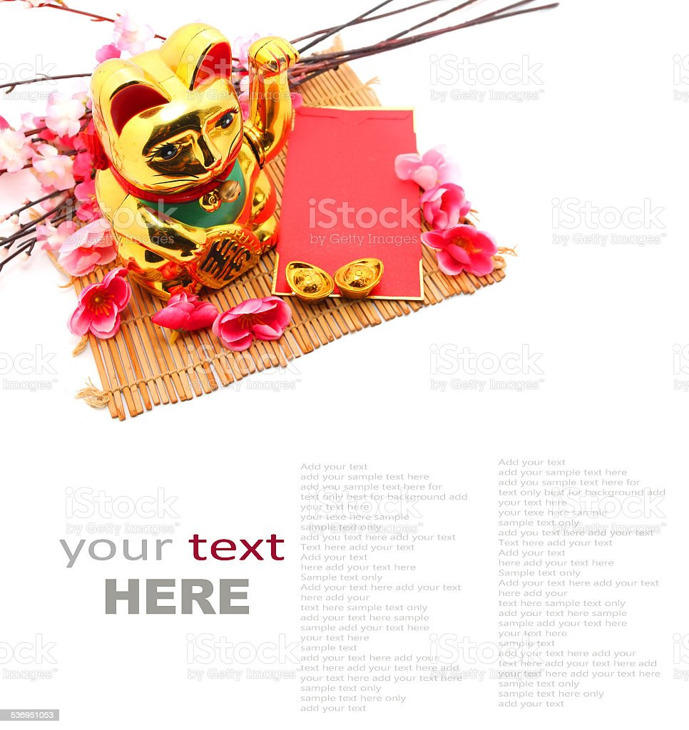 Chinese oriental lucky cat figure stock photo