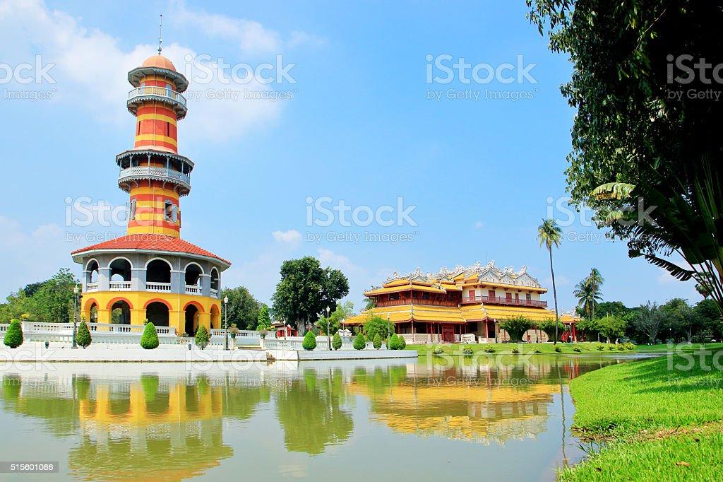 Chinese Pagoda at Bang Pa Royal Palace, Ayutthaya, Thailand stock photo