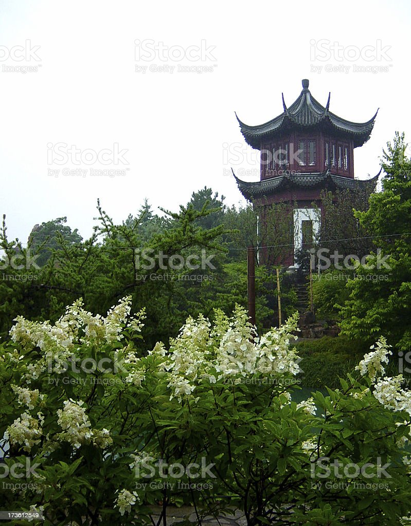 Chinese Pagoda in Scenic Landscape royalty-free stock photo