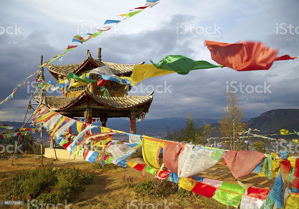 Chinese pagoda. Tibet stock photo
