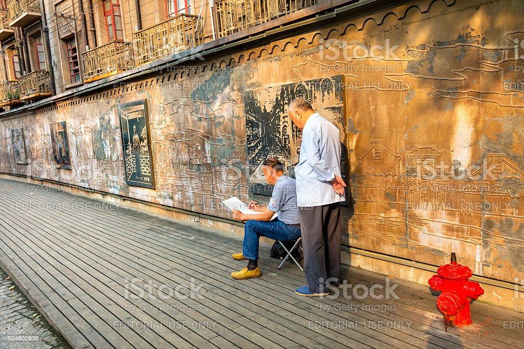 Chinese Painter Old Duolon Cultural Road Hongkou District Shanghai China stock photo