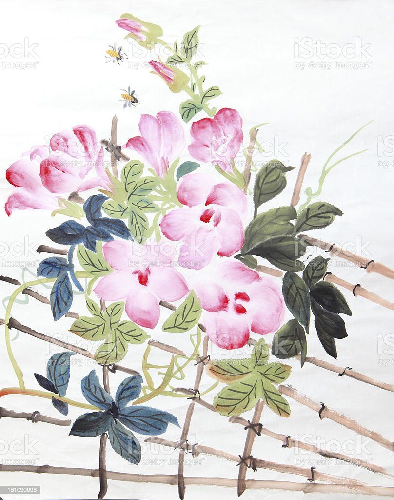 Chinese painting of flowers royalty-free stock photo