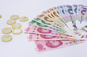 Chinese paper currency and coin background