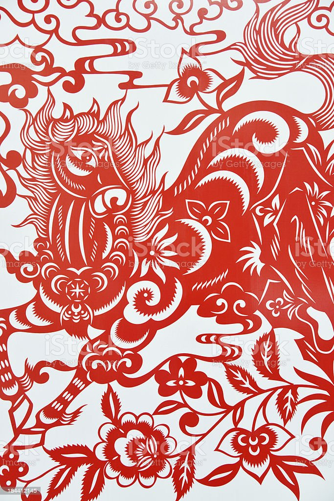 Chinese paper cutting celebrating lunar new year of horse,2014 stock photo