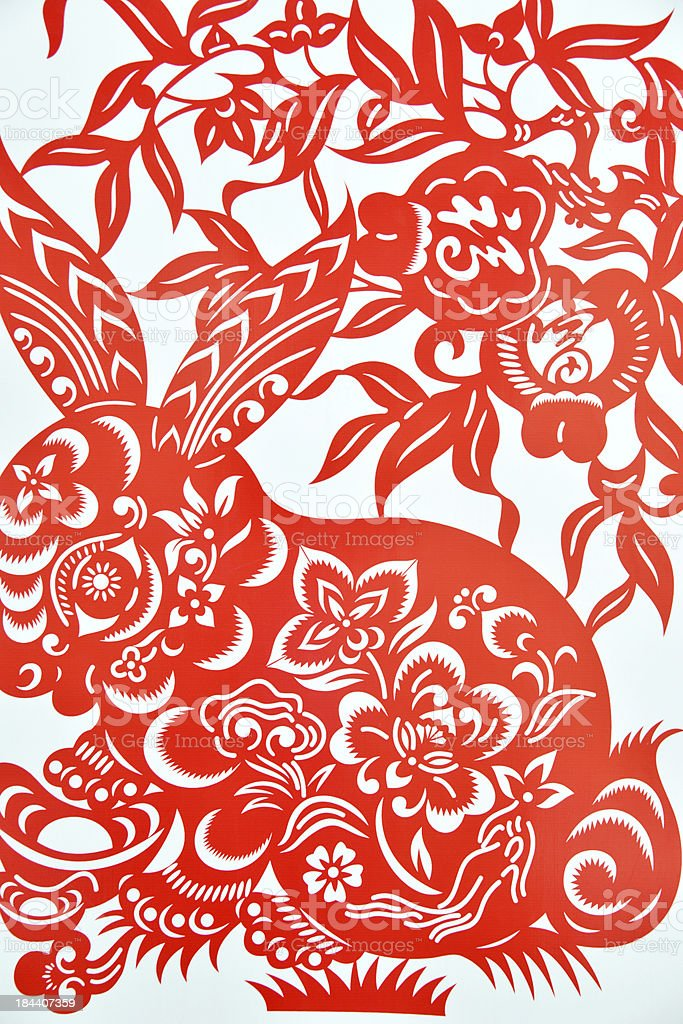 Chinese paper cutting celebrating lunar new year of rabbit stock photo