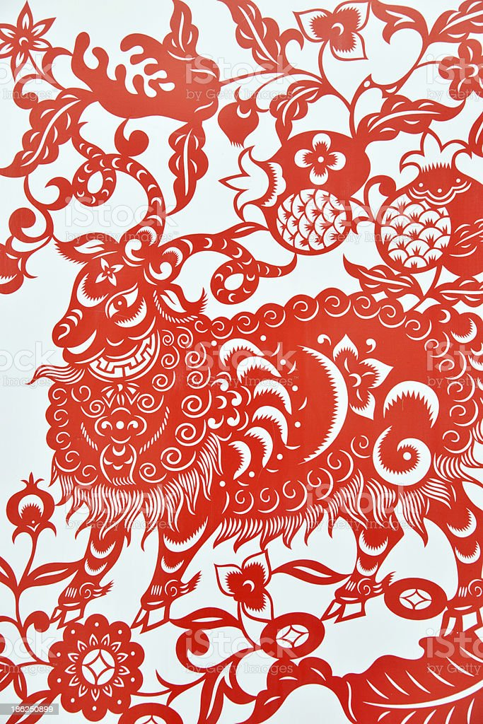 Chinese paper cutting celebrating lunar new year of sheep stock photo