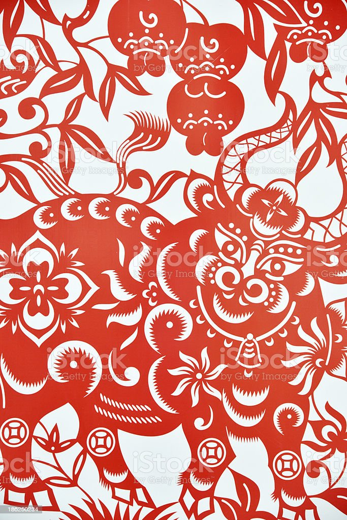 Chinese paper cutting celebrating lunar new year stock photo