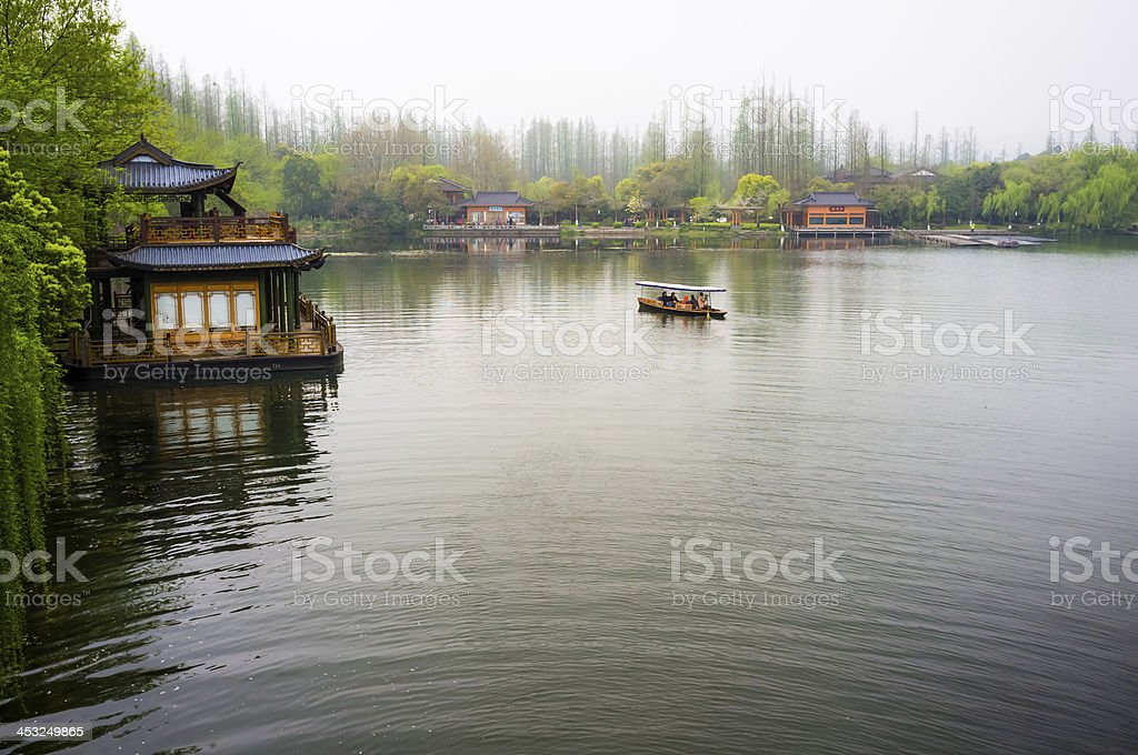 Chinese park at West Lake of Hangzhou royalty-free stock photo