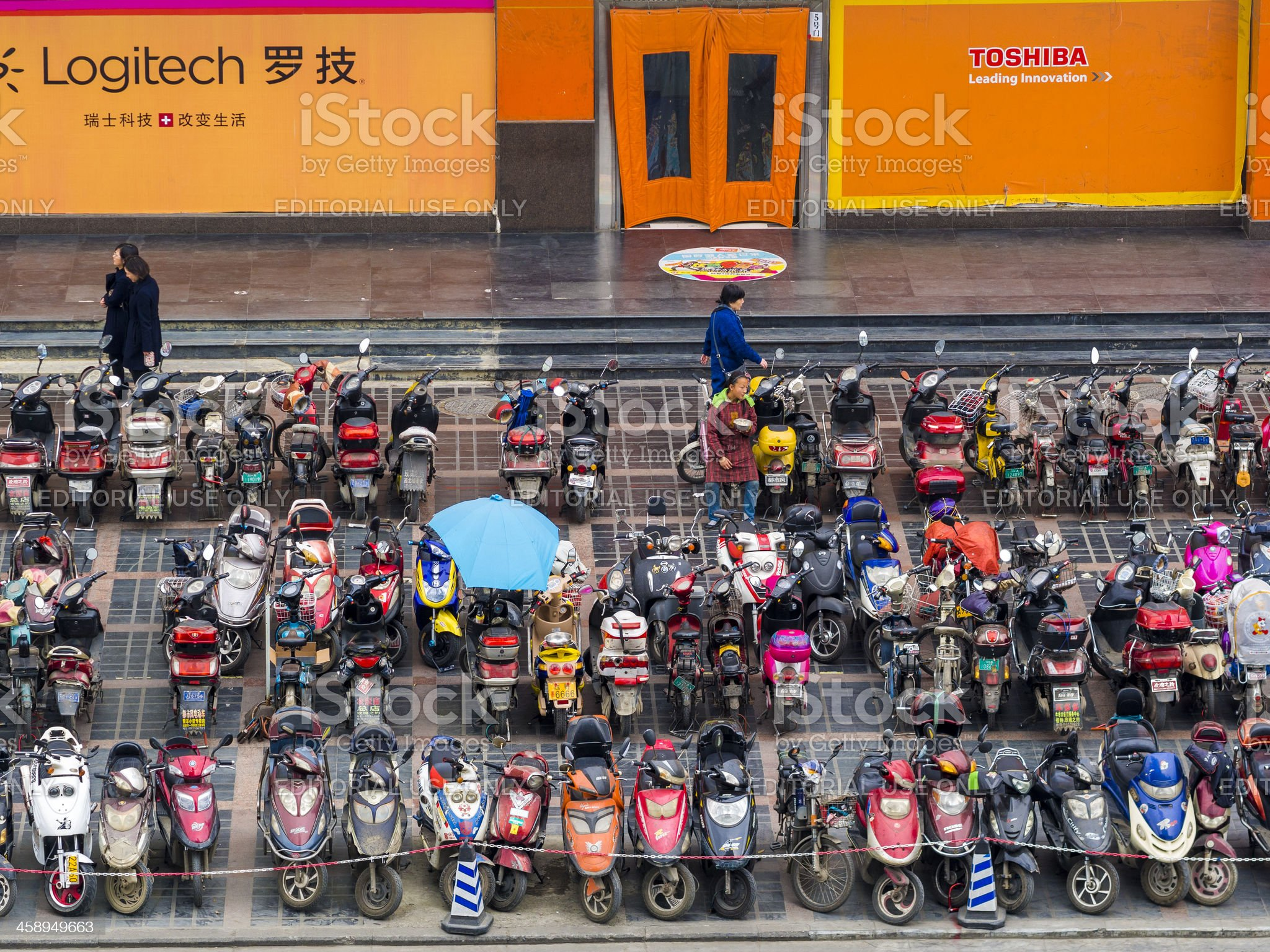Chinese parking lot for scooters. royalty-free stock photo
