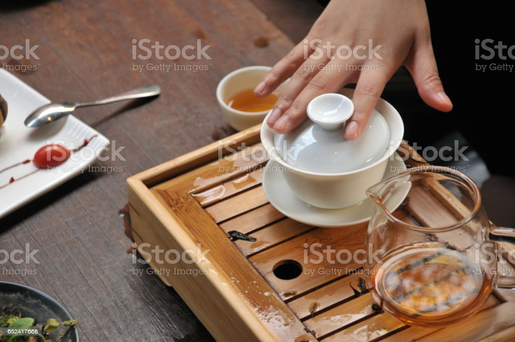 Chinese Pastry or Moon cake and Coffee Break in China stock photo