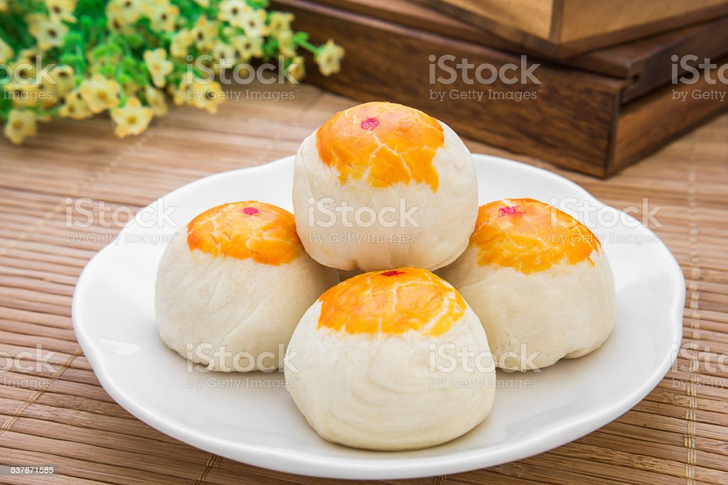 Chinese pastry or moon cake, Chinese festival dessert stock photo