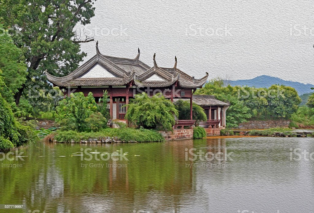 chinese pavilion by the river, oil paint stylization stock photo