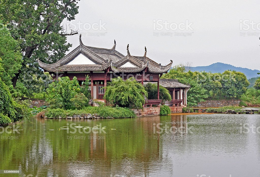 chinese pavilion by the river stock photo