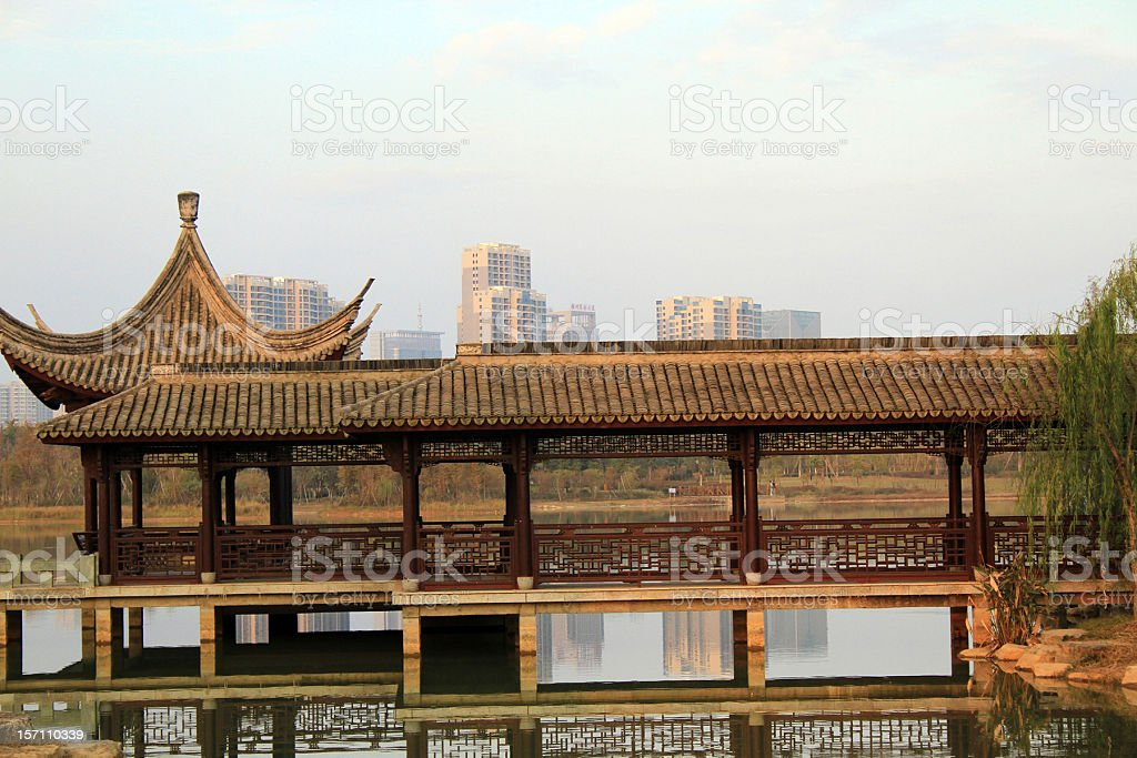 Padiglione cinese a Il Lago, Ganzhou foto stock royalty-free