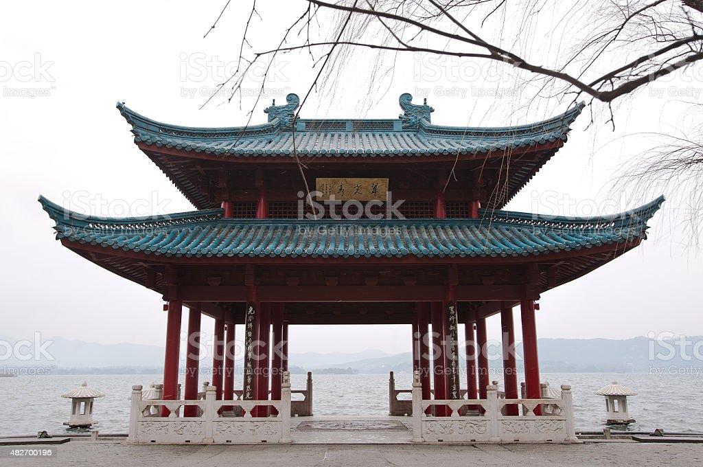 Chinese pavilion on the shore of West Lake, Hangzhou, China stock photo