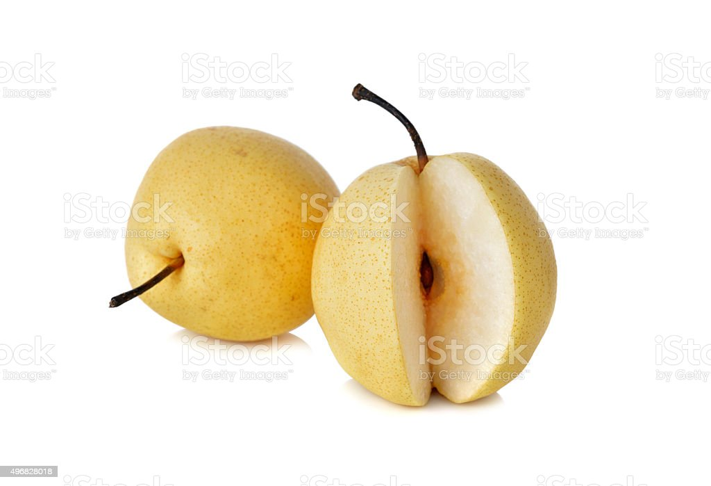 Chinese pear or Nashi pear with stem on white background stock photo