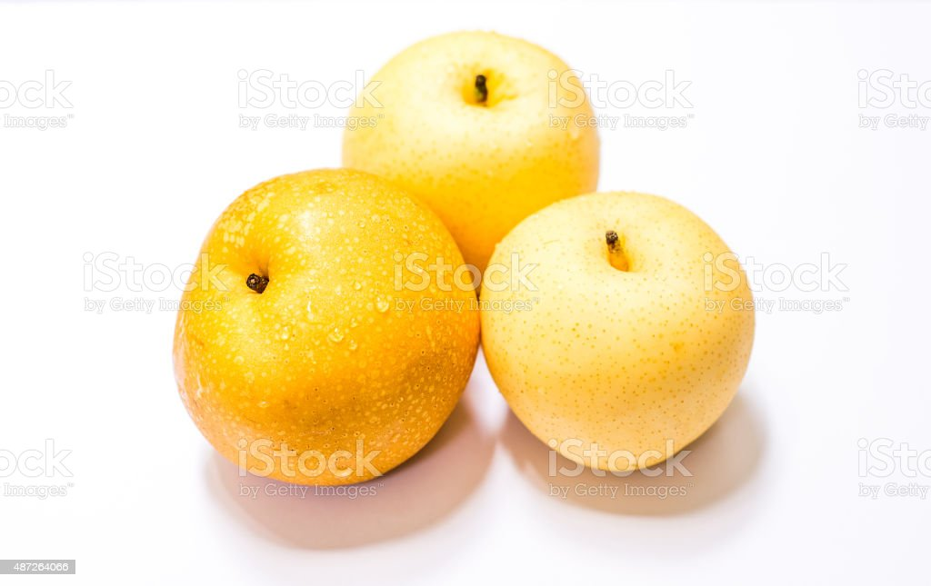 Chinese Pear, Pyrus pyrifloral, isolated on white. selective focus stock photo