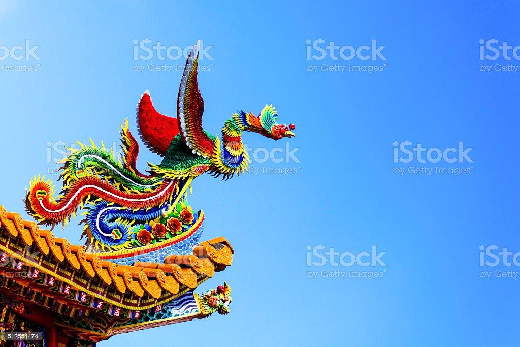 Chinese phoenix statue. stock photo