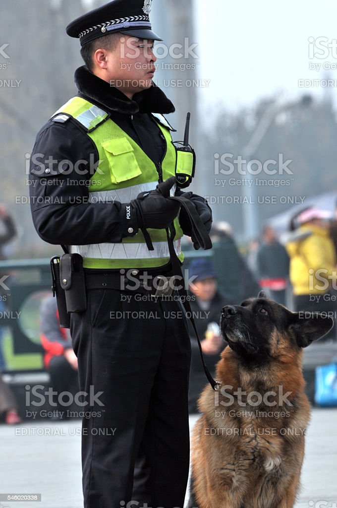 Chinese police and his dog stock photo