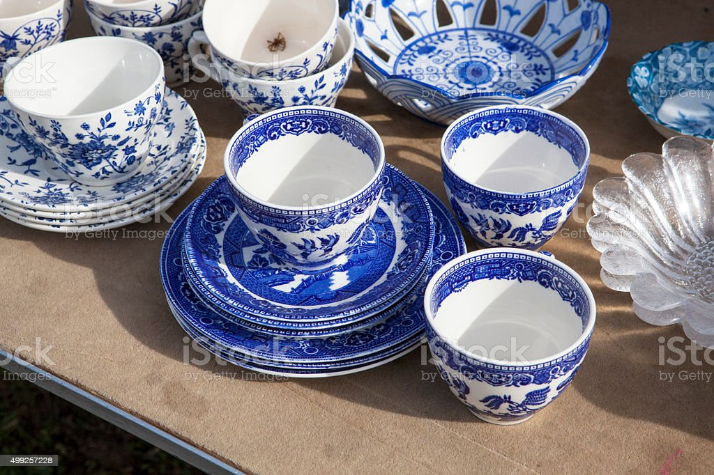 Chinese porcelain in the bazaar stock photo