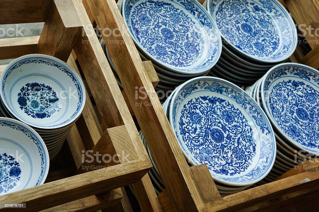 Chinese Porcelain Plates stock photo