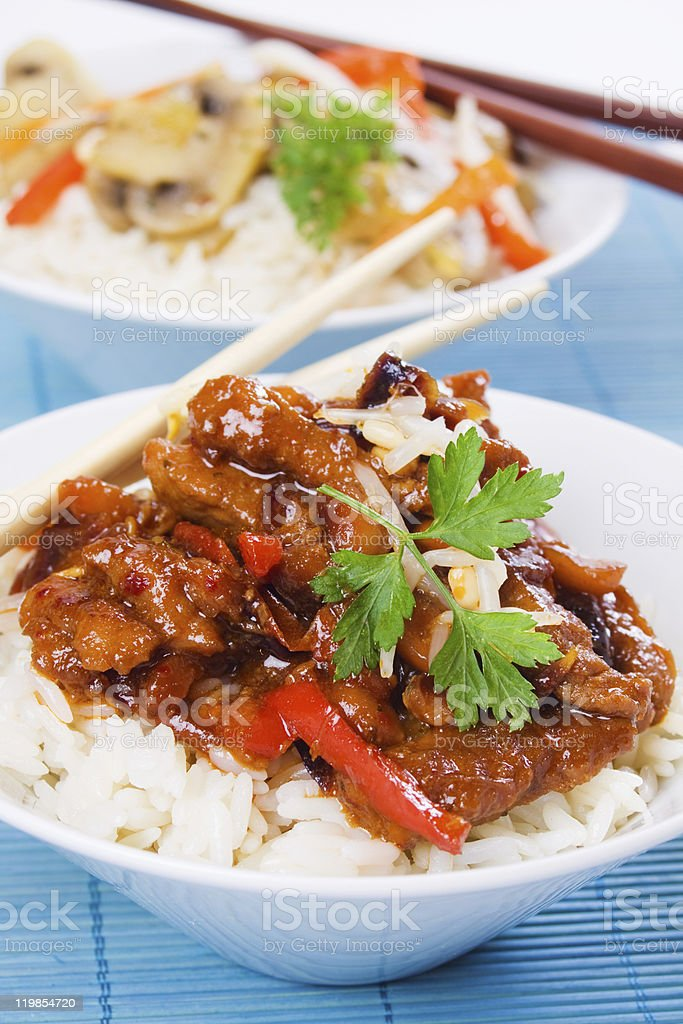 Chinese pork meat with rice stock photo