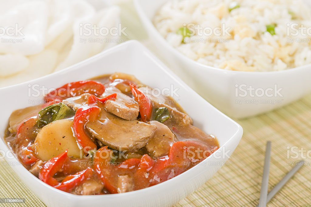 Chinese Pork with Red Peppers stock photo