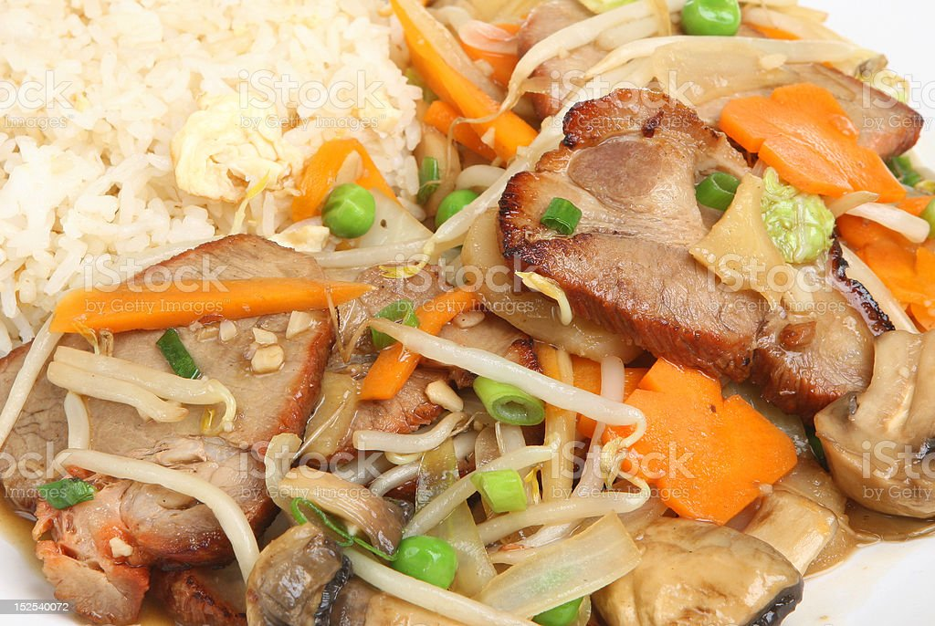 Chinese Pork with Vegetables & Rice royalty-free stock photo