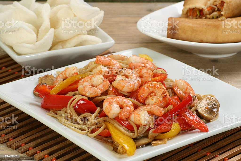 chinese prawn chow mein stock photo