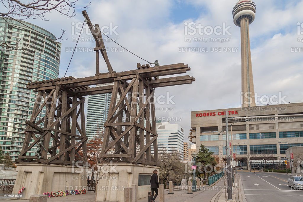 Chinese Railway Workers Memorial with CN Tower in Toronto stock photo