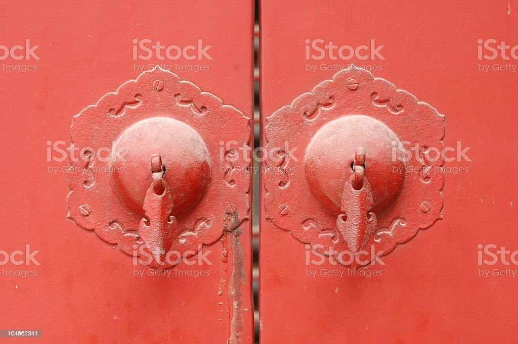 Chinese red door handles stock photo