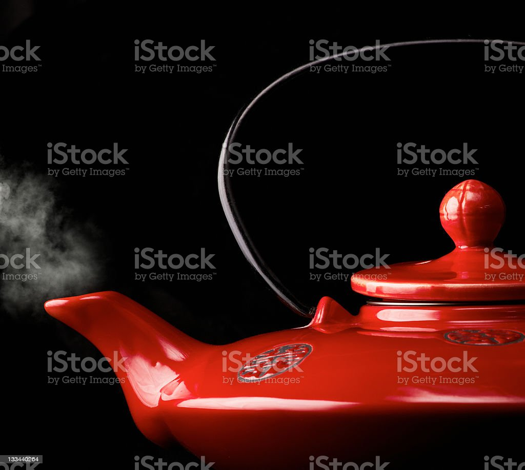 Chinese red teapot stock photo