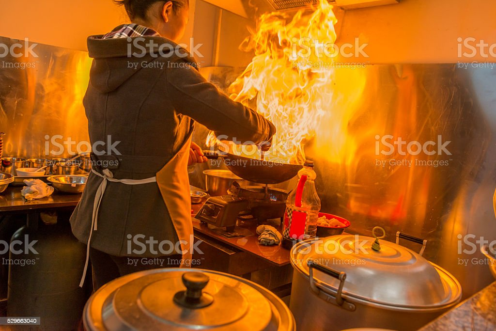 Chinese Restaurant cooking stock photo
