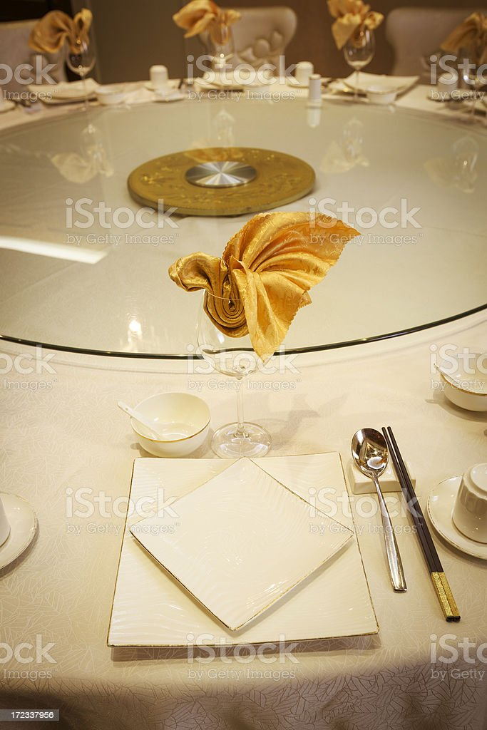 Chinese restaurant dinner table royalty-free stock photo