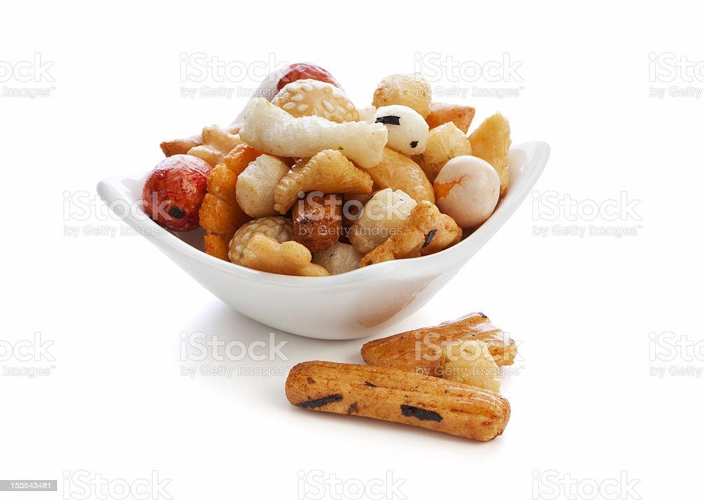 chinese rice crackers stock photo